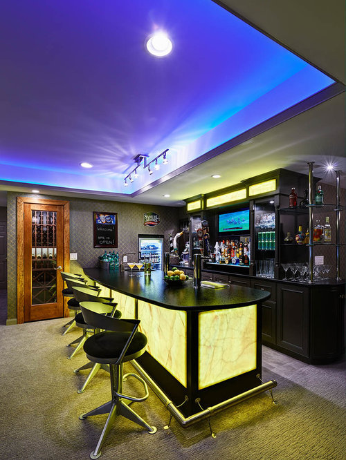 Basement home gym and bar floor ceiling striped