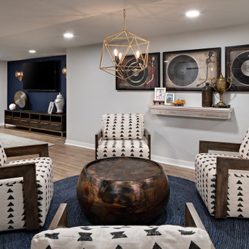 Retro Record Player Basement with Blue Accent Wall
