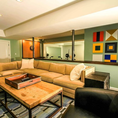 Example of a trendy look-out dark wood floor basement design in Atlanta with green walls