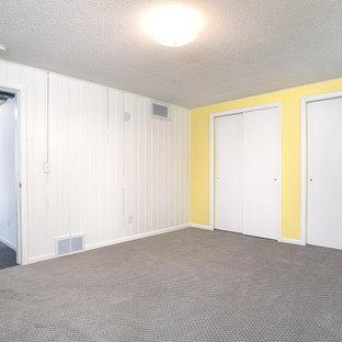 Cette photo montre un sous-sol rétro semi-enterré et de taille moyenne avec un mur jaune, moquette, un sol gris et du lambris de bois.