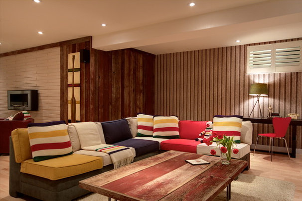 Rustic Basement by Avalon Interiors