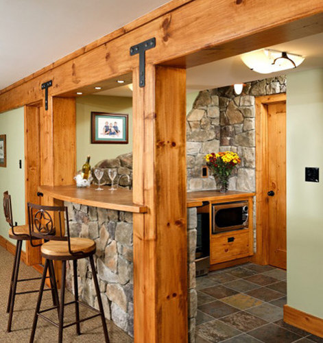Home Bar Design Ideas Houzz: Rustic Basement