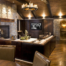 Rustic Basement by John Kraemer & Sons