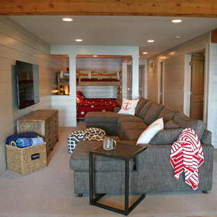 Inspiration for a mid-sized rustic carpeted basement remodel in Milwaukee