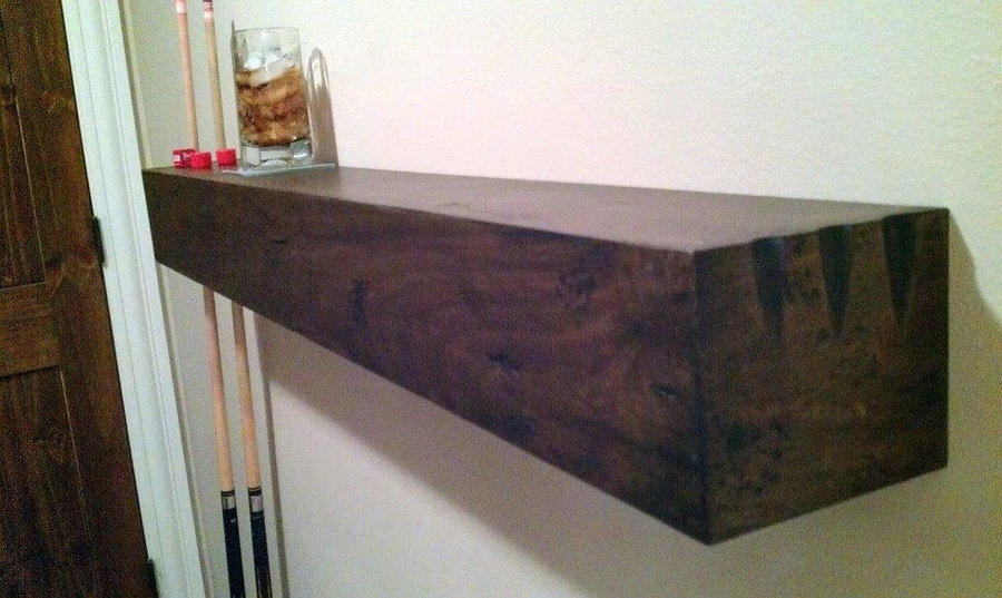 Rustic shelf for pool cue