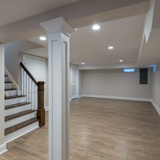 Example of a transitional basement design in New York