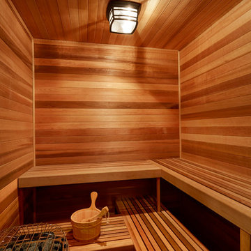 Sauna in Lower Level Features Western Red Cedar Walls and Ceiling