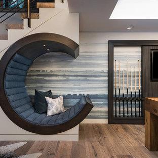 サンディエゴの中サイズのコンテンポラリースタイルのおしゃれな地下室 (茶色い床、マルチカラーの壁、濃色無垢フローリング) の写真