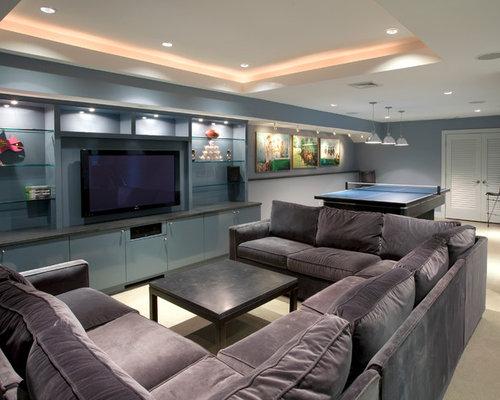 moderne keller mit blauer wandfarbe ideen design bilder houzz. Black Bedroom Furniture Sets. Home Design Ideas
