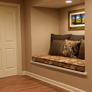 Inspiration for a rustic basement remodel in Cleveland