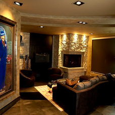 Contemporary Basement by Jaque Bethke for PURE Design Environments Inc.