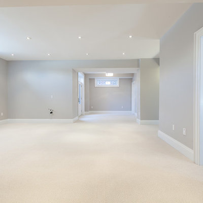 Basement - transitional look-out carpeted basement idea in Toronto