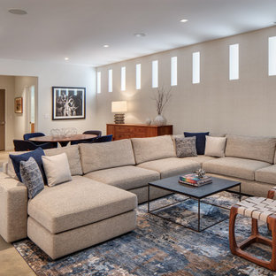 Example of a large minimalist look-out concrete floor and gray floor basement design in Chicago with gray walls