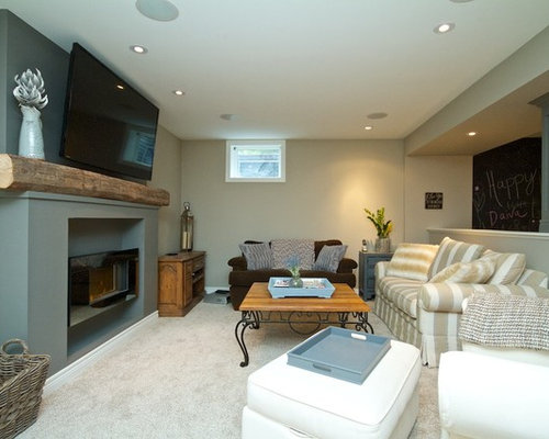 moderne keller mit verputztem kaminsims ideen design. Black Bedroom Furniture Sets. Home Design Ideas