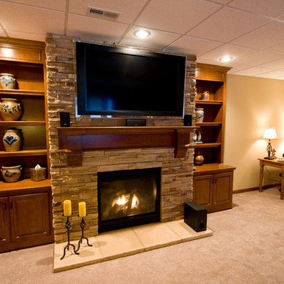 Contemporary Entertainment Center Basement Design Ideas