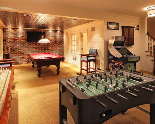 Basement game room houzz Room decorating games for adults