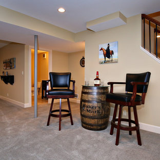 Elegant carpeted basement photo in Louisville with yellow walls and no fireplace