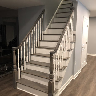 Stairway connecting basement and first floor