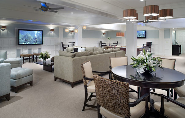 Traditional Basement by Diane Burgoyne Interiors
