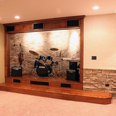 eclectic basement by North Star Stone