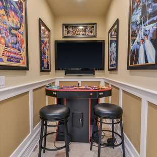 Basement - traditional basement idea in Chicago with beige walls