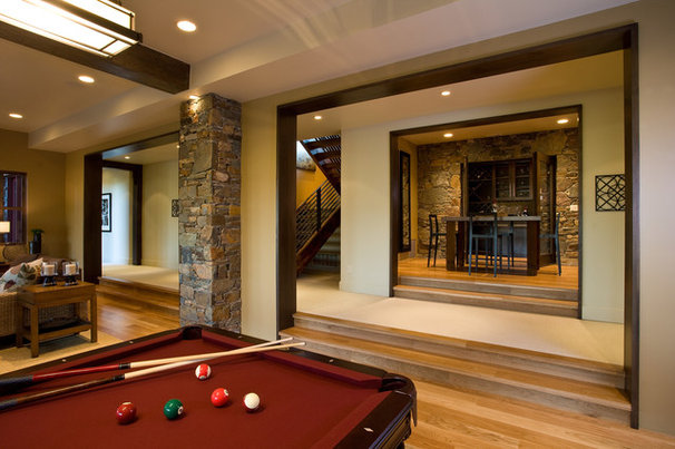 Rustic Basement by Phillips Development