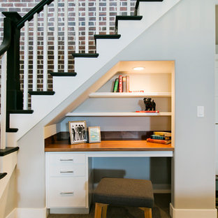 Inspiration for a large timeless carpeted and beige floor basement remodel in Salt Lake City with white walls