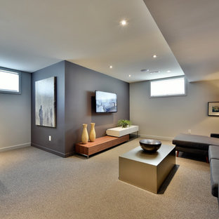 Example of a minimalist basement design in Ottawa