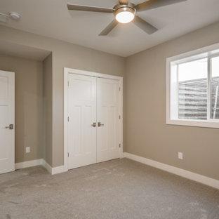 Inspiration pour un sous-sol traditionnel donnant sur l'extérieur avec un mur beige, moquette, un sol beige et un plafond décaissé.