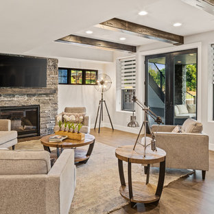 Large country walk-out brown floor basement photo in Cincinnati with a standard fireplace, a stone fireplace and gray walls