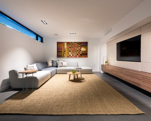 Inspiration For A Large Modern Look Out Basement In Perth With Porcelain  Floors And Grey