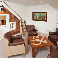 Transitional Basement by Homes by Tradition
