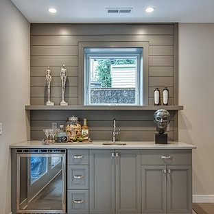 This is an example of a small contemporary basement in Minneapolis.