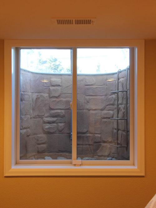 Egress window treatment ideas pictures remodel and decor for Basement window treatment ideas