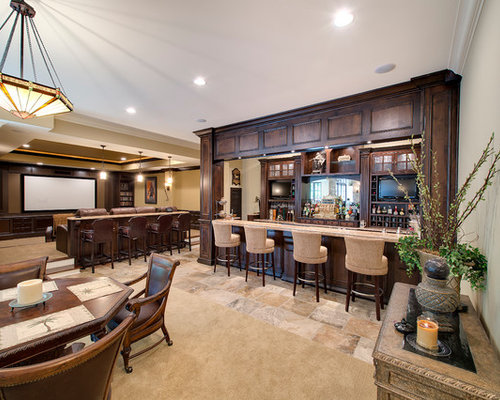 example of a classic underground beige floor basement design in indianapolis with beige walls - Basement Design Ideas Pictures