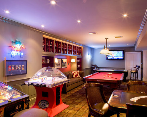 Long Narrow Room Example Of A Classic Basement Design In New YorkBest 20 Ideas Photos Houzz