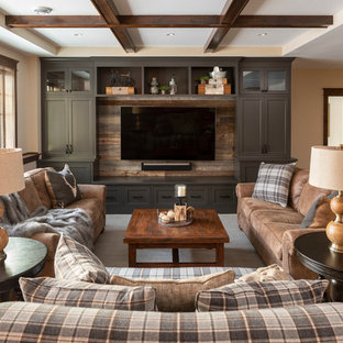 Basement - traditional look-out carpeted and beige floor basement idea in Minneapolis with beige walls and no fireplace