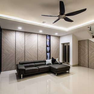 Basement - mid-sized contemporary marble floor basement idea in Singapore
