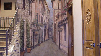 Tuscan Street Scene Mural in Basement, Milford, Michigan