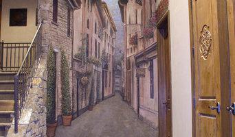 Tuscan Street Scene Mural in Basement, Milford, Michigan