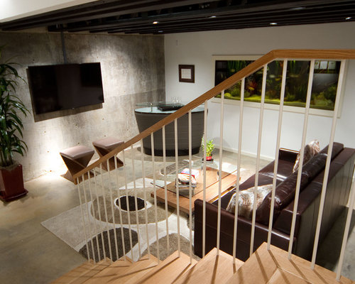 Basement concrete wall home design ideas renovations photos - Basement concrete wall ideas ...