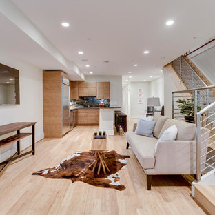 This is an example of a medium sized modern walk-out basement in DC Metro with grey walls, bamboo flooring, no fireplace and beige floors.