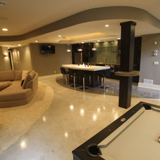 Contemporary Basement by Stockness Construction