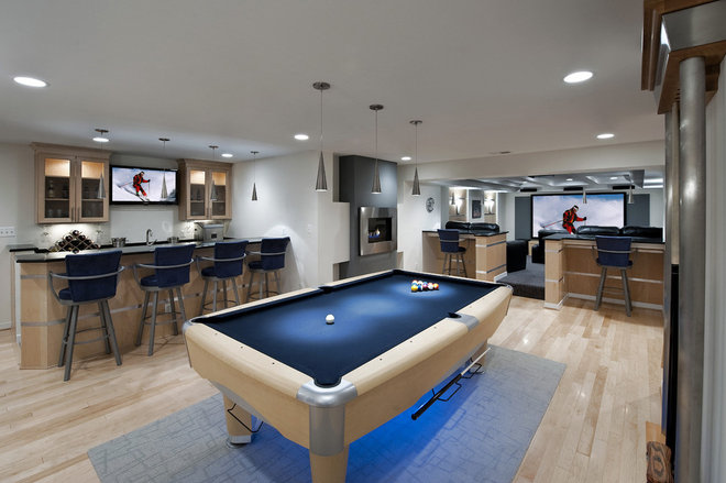 Contemporary Basement by Moss Building and Design