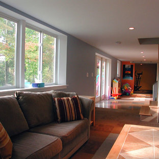 Example of a trendy basement design in Columbus