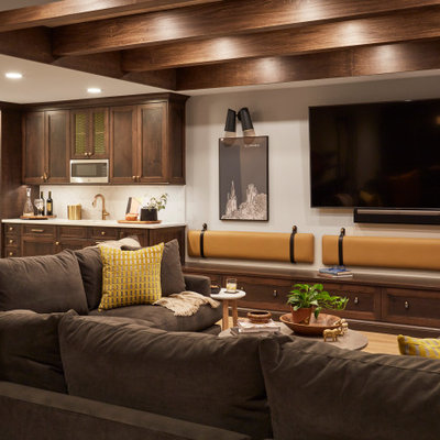 Inspiration for a transitional underground exposed beam basement remodel in Chicago with white walls