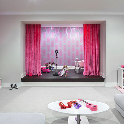 Inspiration for a huge contemporary underground carpeted basement remodel in New York with gray walls and no fireplace