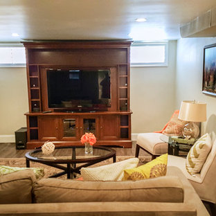Example of a mid-sized classic look-out carpeted basement design in Denver with beige walls and no fireplace