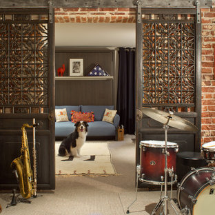 Eclectic carpeted and beige floor basement photo in Denver with red walls