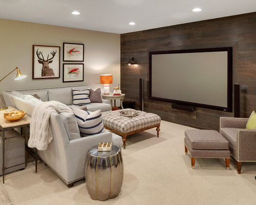 large rustic fully buried basement idea in minneapolis with beige walls and carpet